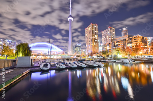 Toronto skyline at night in Ontario, Canada