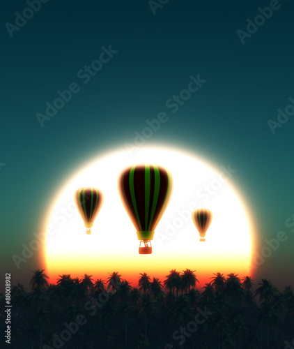 sunset and hot air balloon