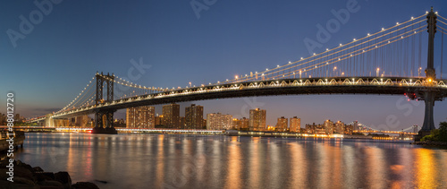 Panoramic View Manhattan Bridge and Manhattan Skyline at Night