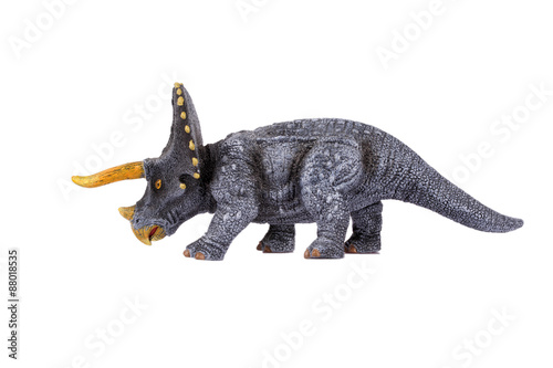 Poster Dinosaur Toy Triceratops, isolated at white background
