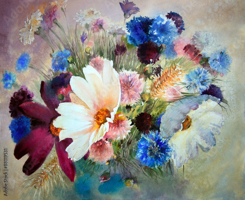 Plakat Watercolor painting of the beautiful flowers.