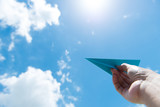 Paper plane against cloudy sky - 88045910