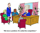 Business cartoon showing a meeting and boss saying to managers,