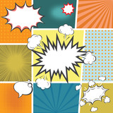 Fototapety comic book templete with speech bubbles element