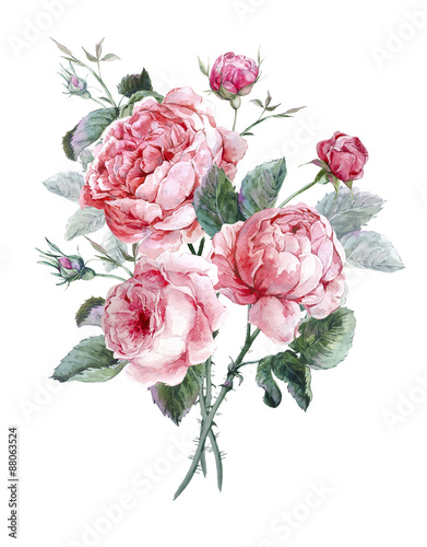 Classical vintage floral greeting card, watercolor bouquet of - 88063524