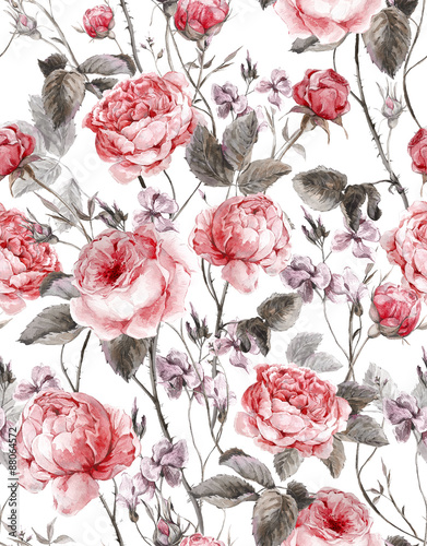 Cotton fabric Classical vintage floral seamless pattern, watercolor bouquet of