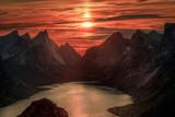 Fototapety Midnight sun over Reinebringen. Summer in the Lofoten in Norway