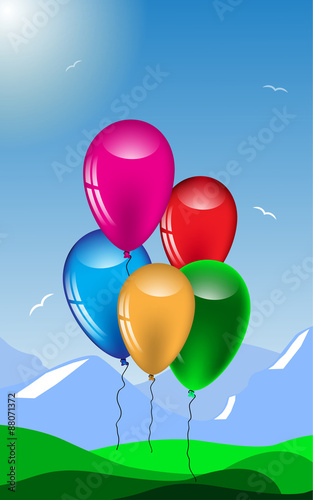 Festive, summer a background with colorful balloons.Vector © alexmu