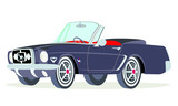 Caricatura Ford  Mustang convertible negro vista frontal y lateral