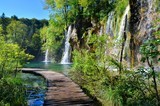 Fototapety Boardwalk through the waterfalls of Plitvice Lakes National Park, Croatia