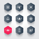 Drones, Quadrocopter, Copters hexagon modern icons poster