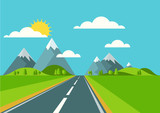 Vector landscape background. Road in green valley, mountains, hi