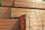 stack of wooden terrace planks at the lumber yard - 88105717
