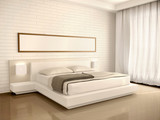 Fototapety 3d illustration of interior modern light bedroom in the style of