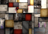 Fototapety Colorful grunge textured wooden blocks background texture.