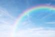 rainbow in the clear blue sky after the rain, the rainy season.