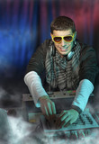 Portrait of DJ - Disc Jockey in ecstasy. poster