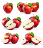 Fototapety Set of ripe red apples with green leaves isolated