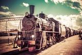 Stary lokomotywa parowa, zabytkowe pociągu.
