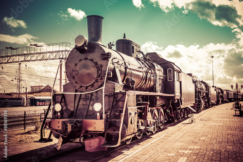 Old steam locomotive, vintage train. - 88169398