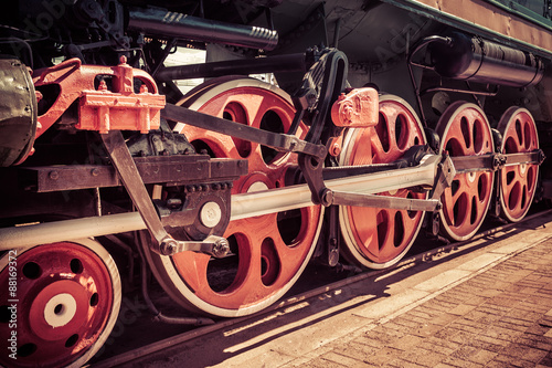 Red locomotive wheel Poster