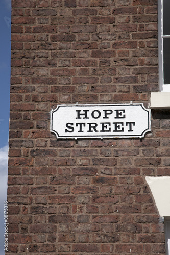 Poster Hope Street Sign on Red Brick Wall, Liverpool