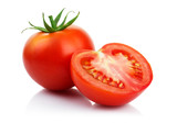 Fototapety Red tomatoes with cut isolated on white