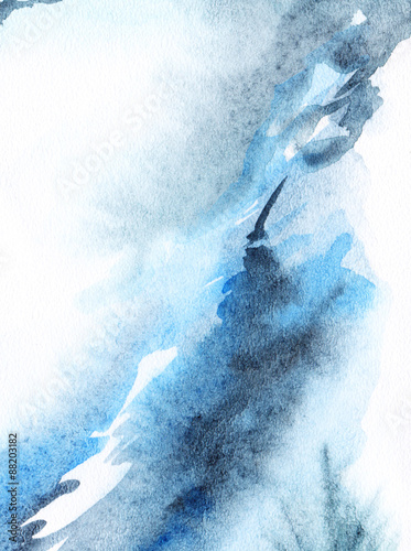 Watercolor abstract blue white background - 88203182