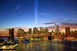 New York skyline in memory of September 11