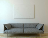 Mock up canvas on wall with sofa