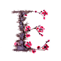 Floral alphabet. Letter E isolated on white background. Illustration