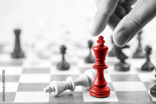 Poster, Tablou Chess business concept, leader & success