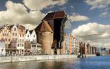 Żuraw portowy na starym mieście nad Motławą,Gdańsk,Polska