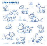 Fototapety Cute cartoon farm animals. duck, horse, sheep, goat, donkey, cow, mouse, pig, dog, cat, chick. Hand drawn doodle vector illustration.