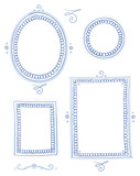 Fototapety Nostagic picture frame collection round, egg, oval and square shape, for invitiation, marriage and easter cards. Hand drawn vector illustration.