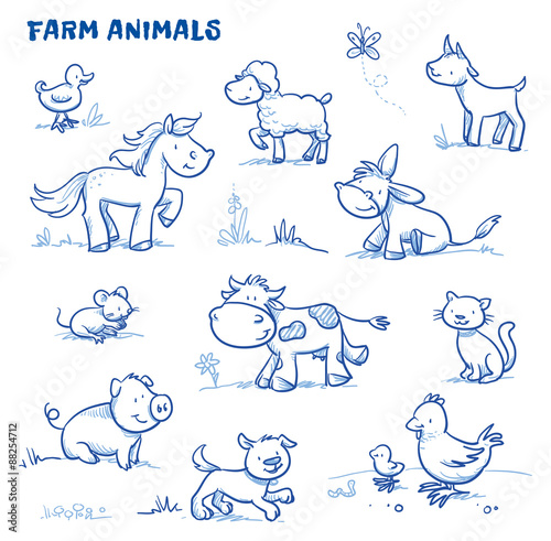 Cute cartoon farm animals. duck, horse, sheep, goat, donkey, cow, mouse, pig, dog, cat, chick. Hand drawn doodle vector illustration. - 88254712