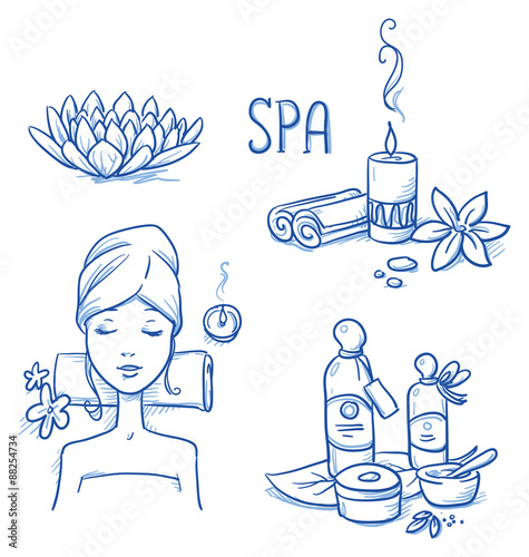 Icon item set wellness, spa, with relaxing woman, lotus flower, candle, cream and oil bottles, leafs and flowers. Hand drawn doodle vector illustration.