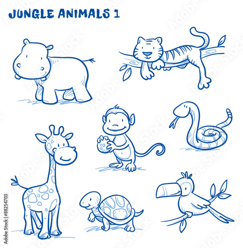 Poster Cute cartoon jungle, safari animals