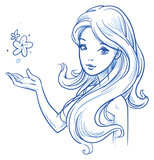 Fototapety Beautiful, young woman with perfect hair. Hand drawn vector illustration