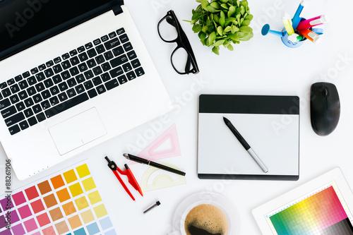 Poster professional creative graphic designer desk