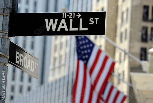 Zdjęcia na płótnie, fototapety na wymiar, obrazy na ścianę : Wall Street road sign, Lower Manhattan, New York City