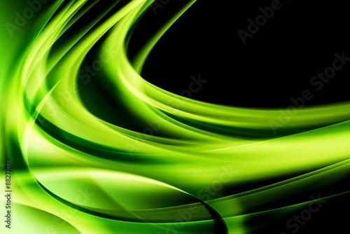 In einem kreativen, grünen Strahl