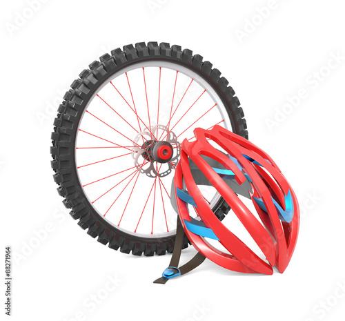 Deurstickers Fietsen Biking wheel and helmet