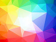 brightly colored triangular background with white center