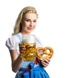 attraktive blonde Frau im Dirndl mit Bierkrug und Brezel