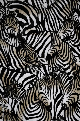 Fototapeta Texture fabric of Many zebra herd for background