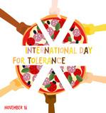 International Day for Tolerance. 16 November. Hands of different poster