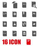 Vector grey schoolbook icon set poster