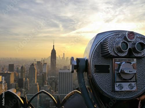 Tower viewer telescope binoculars over looking the New York City skyline Poster