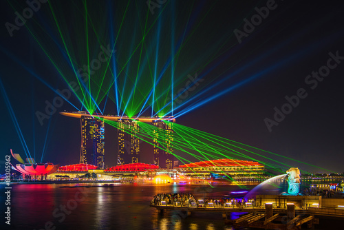 Plagát Laser show on marinabay sands , Singapore